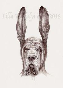 Tiere, Tuschezeichnung, Hund, Buchillustration