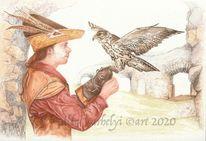 Mittelalter, Tuschmalerei, Tuschezeichnung, Burg