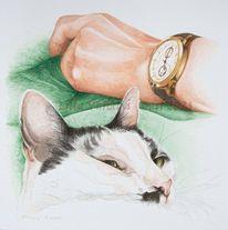 Hand, Tuschezeichnung, Uhr, Zeichnung
