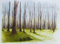Tuschmalerei, Frühling, Licht, Baum