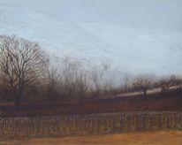 Landschaftsmalerei, Burgenland, Dunkel, Nebelig