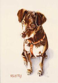 Niedlich, Auftragsmalerei, Tierportrait, Terrier
