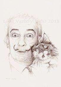 Zeichnung, Dalí, Portrait, Katze