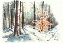 Schatten, Landschaft, Wald, Tuschmalerei