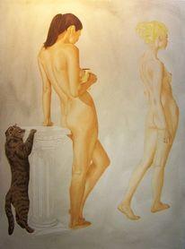 Akt, Stufe, Malerei, Realismus