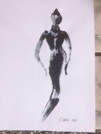 Schwarzweiß, Gefühl, Junge frau, Malerei