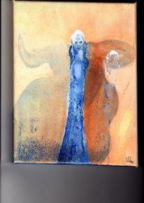 Blau, Stier, Frau, Malerei