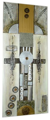 Mischtechnik, Wandbild, Abstrakt, Silber