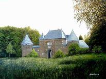 Sommerlandschaft, Bauwerk, Burg, Ölmalerei