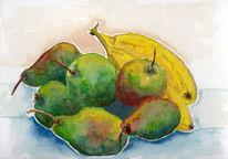 Birnen und bananen, Apfel, Aquarell
