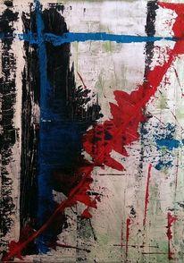 Weiß, Blut, Abstrakt, Acrylmalerei