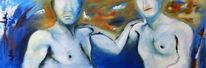 Liebe, Acrylmalerei, Blau, Malerei