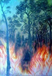 Waldbrand, Spezialpapier, Pastellmalerei, Malerei
