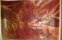 Schellack, Wald, Hirsch, Pastellmalerei