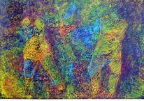Acrylmalerei, Menschen, Di vora anneliese, Sgrafitto
