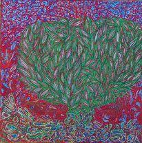 Baum, Wald, Abstrakt, Rot