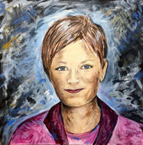 Portrait, Junge frau, Malerei