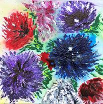 Astern, Bunt, Blumen, Malerei