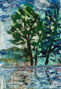 Baum, Wasser spiegelung, Sturm, Malerei