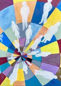 Menschen, Spirale, Leben, Malerei