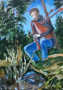 Wald, Teich, Dudelsack, Junger mann