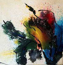 Vase, Farben, Zweig, Malerei