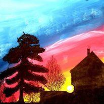 Stimmung, Baum, Acrylmalerei, Malerei