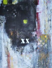 Acrylmalerei, Kohlezeichnung, Grün, Rot schwarz