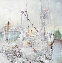 Segelboot, Segelstange, Ufer, Fluss