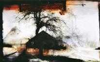 Schatten, Gehöft, Baum, Digitale kunst