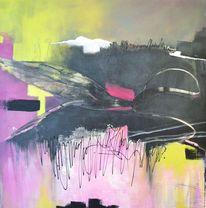 Acrylmalerei, Spuren, Verlauf, Schwarz weiß