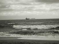 Meer, Hochnebel, Schifffahrt, Welle