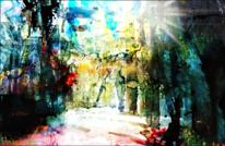 Wald, Baum, Lichtung, Malerei