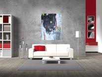 Wohnraumcollage, Malerei, Malerei abstrakt, Wohnraum