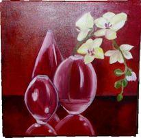 Blumen, Orchidee, Vasen malerei, Rot
