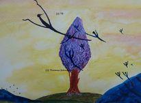 Engel, Baum, Lila, Malerei