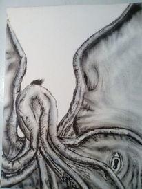 Surreal, Schwarzweiß, Monster, Malerei