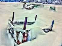 Verkehr, Landschaft, Bearbeitung, Schnee