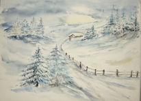 Winterlandschaft, Schnee, Tanne, Malerei