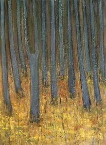 Malerei, Ölmalerei, Wald, Leinen