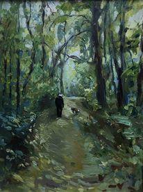 Spaziergang, Freund, Wald, Malerei