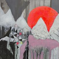 Streetart, Berge, Sonne, Abstrakt