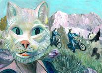 Lustig, Katze, Panda, Landschaft