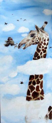 Giraffe, Tsierkarikatur, Coronavirus, Malerei