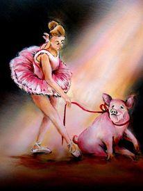Schwein, Karikatur, Ballerina, Malerei