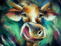 Kuh acryl leinwand 74 images and ideas auf kunstnet - Kuh bilder auf leinwand ...