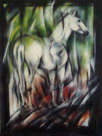 Acrylmalerei, Pferdemalerei, Weißes pferd, Malerei