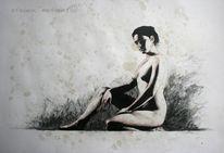 Atelier, Frau, Modelpose, Zeichenmodel