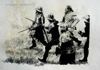Zeichnung, Reenactment, Angriff, Schwert