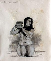 Frau, Bücher, Kreide, Model